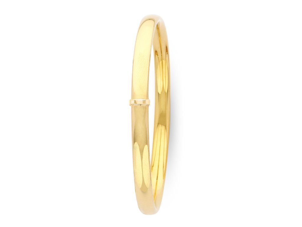 9ct Yellow Gold Silver Infused 1/2 Round Bangle
