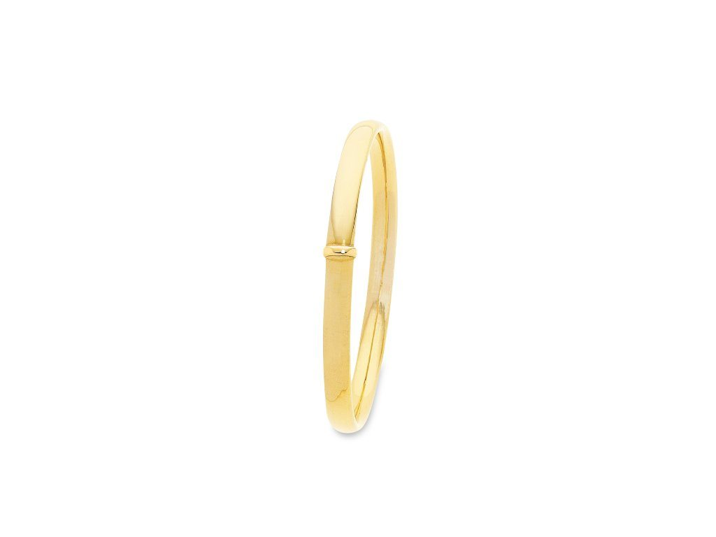 9ct Yellow Gold Silver Infused Round Bangle