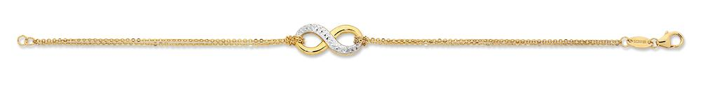 9ct Yellow & White Gold Silver Infused Infinity Bracelet