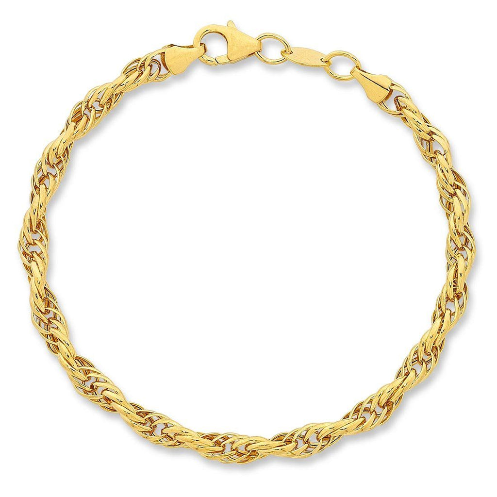 9ct Yellow Gold Silver Infused Belcher Bracelet