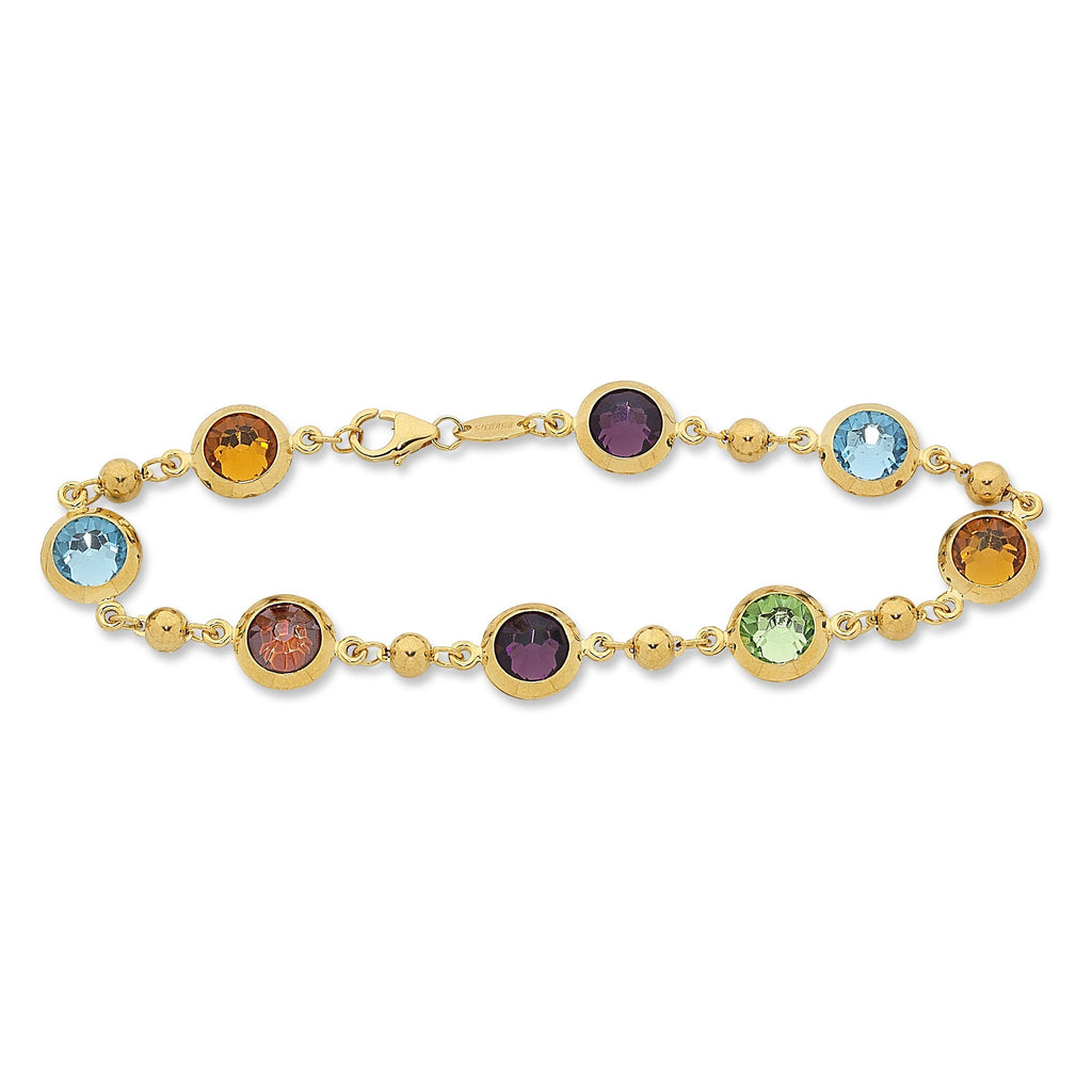 9ct Yellow Gold Silver Infused Multi Coloured Stones Bracelet