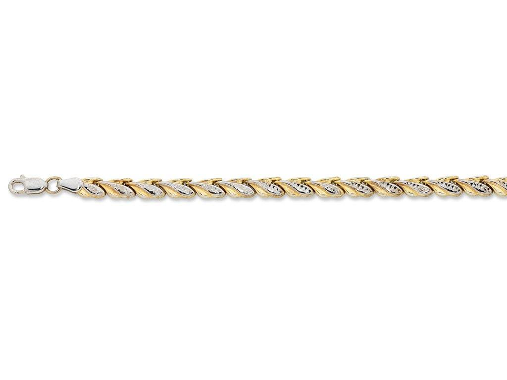 9ct Two Tone Gold Silver Infused Fancy Bracelet Bracelets Bevilles