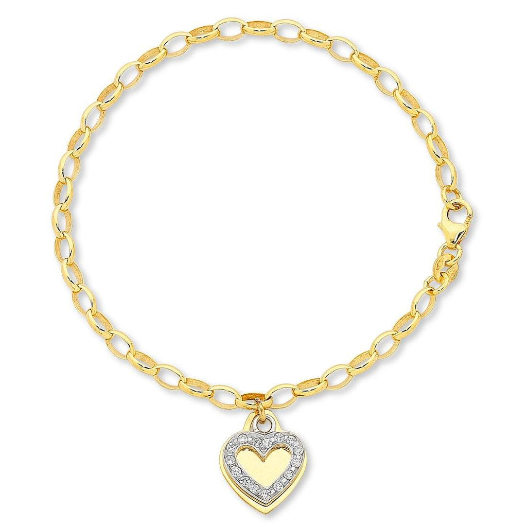 9ct Yellow Gold Silver Infused Bracelet with Heart Bracelets Bevilles