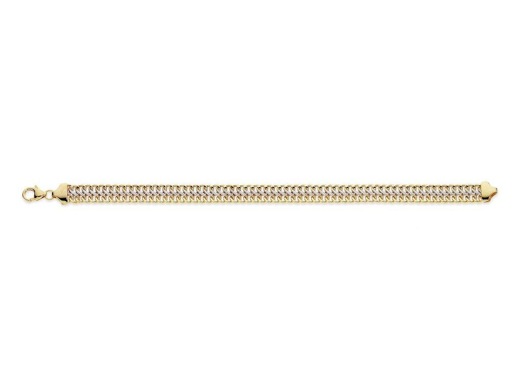 9ct Yellow Gold Silver Infused Two Tone Link Bracelet 19cm Bracelets Bevilles
