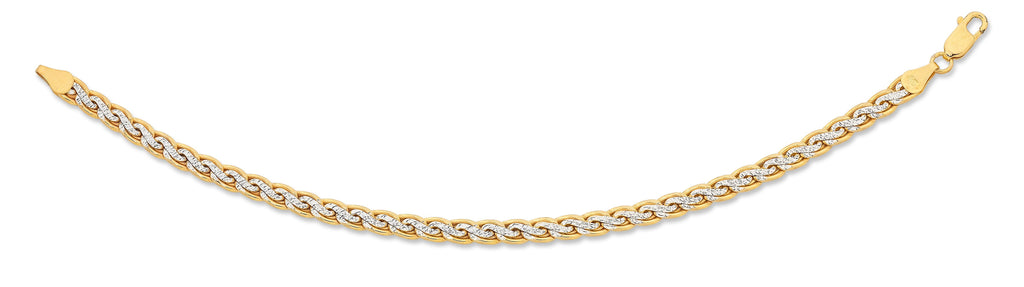 9ct Two Tone Silver Infused Diamond Cut Bracelet