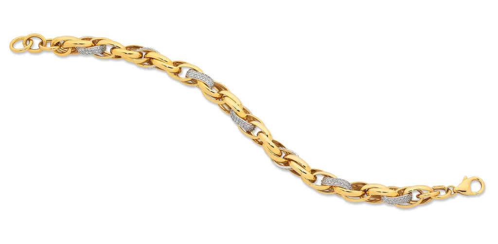 9ct Yellow Gold Silver Infused Bracelet Bracelets Bevilles
