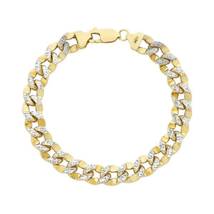 9ct Gold Two Tone Silver Infused Curb Bracelet