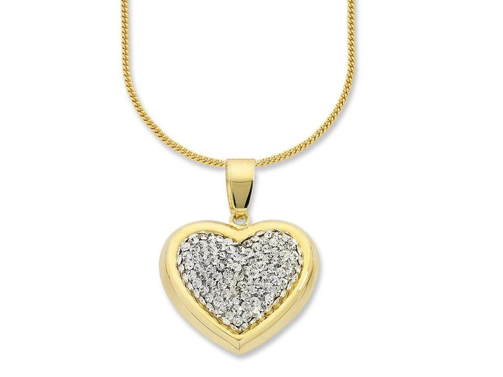 9ct Yellow Gold Silver Infused Heart Necklace Necklaces Bevilles