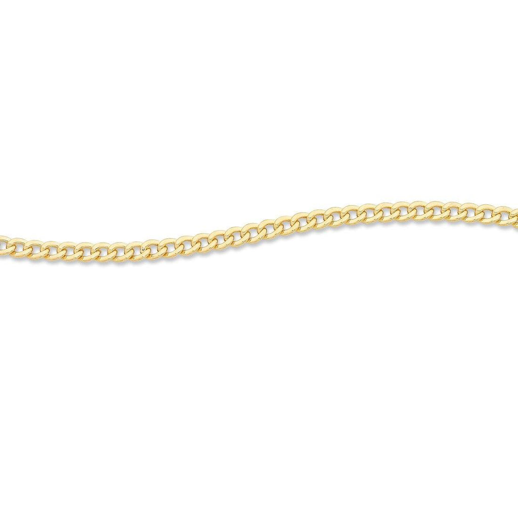 9ct Yellow Gold Silver Infused Curb Necklace 55cm