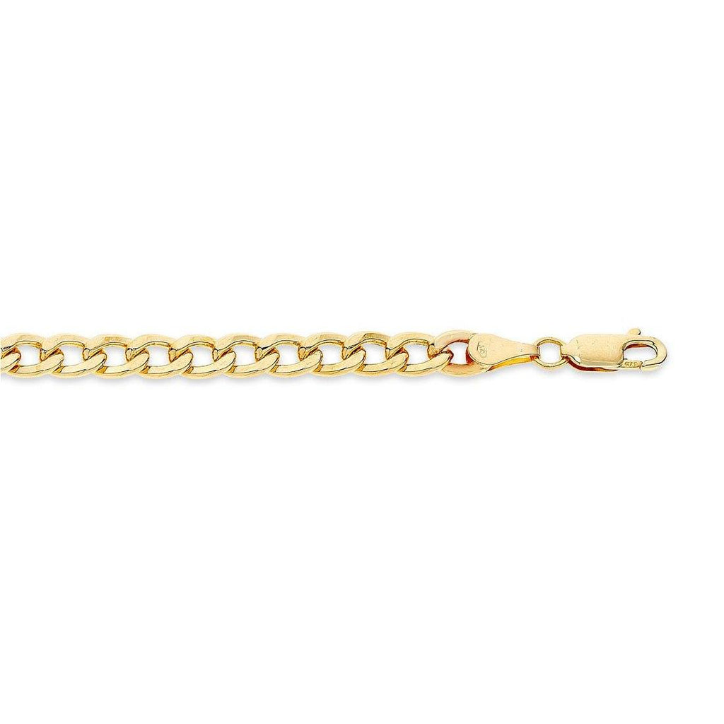 9ct Yellow Gold Silver Infused Curb Necklace 50cm Necklaces Bevilles