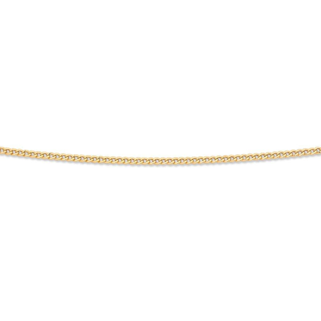9ct Yellow Gold Silver Infused Flat Curb Necklace 75cm Necklaces Bevilles