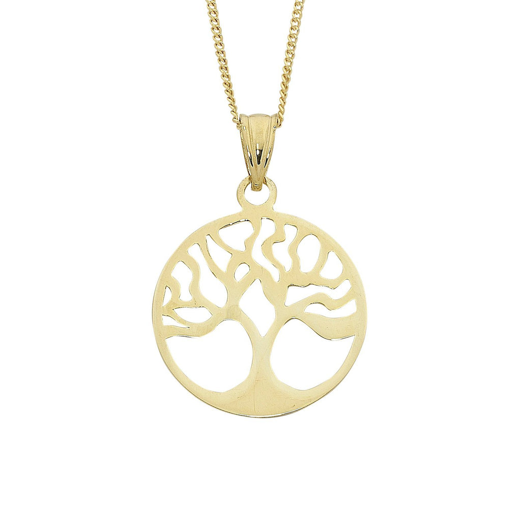 9ct Yellow Gold Silver Infused Tree Of Life Necklace 45cm Necklaces Bevilles