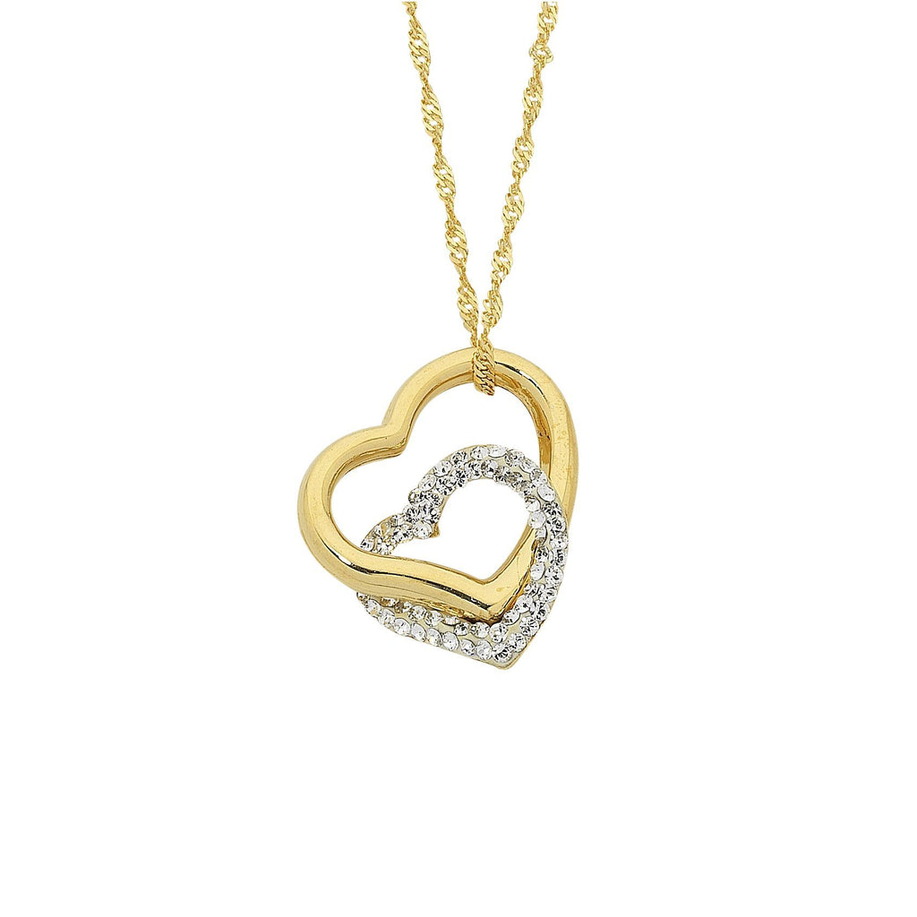 9ct Yellow Gold Silver Infused Double Heart Necklace 43cm Necklaces Bevilles