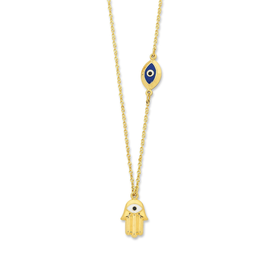 9ct Yellow Gold Silver Infused Evil Eye Necklace