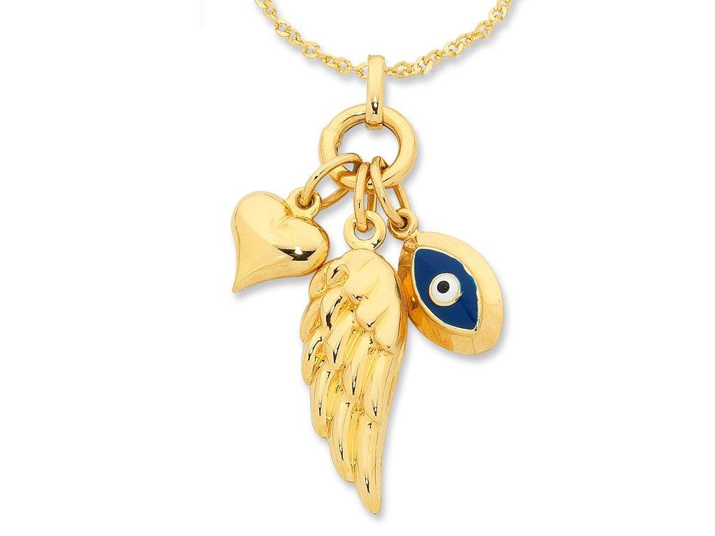 9ct Yellow Gold Silver Infused Heart Wing Evil Eye Necklace
