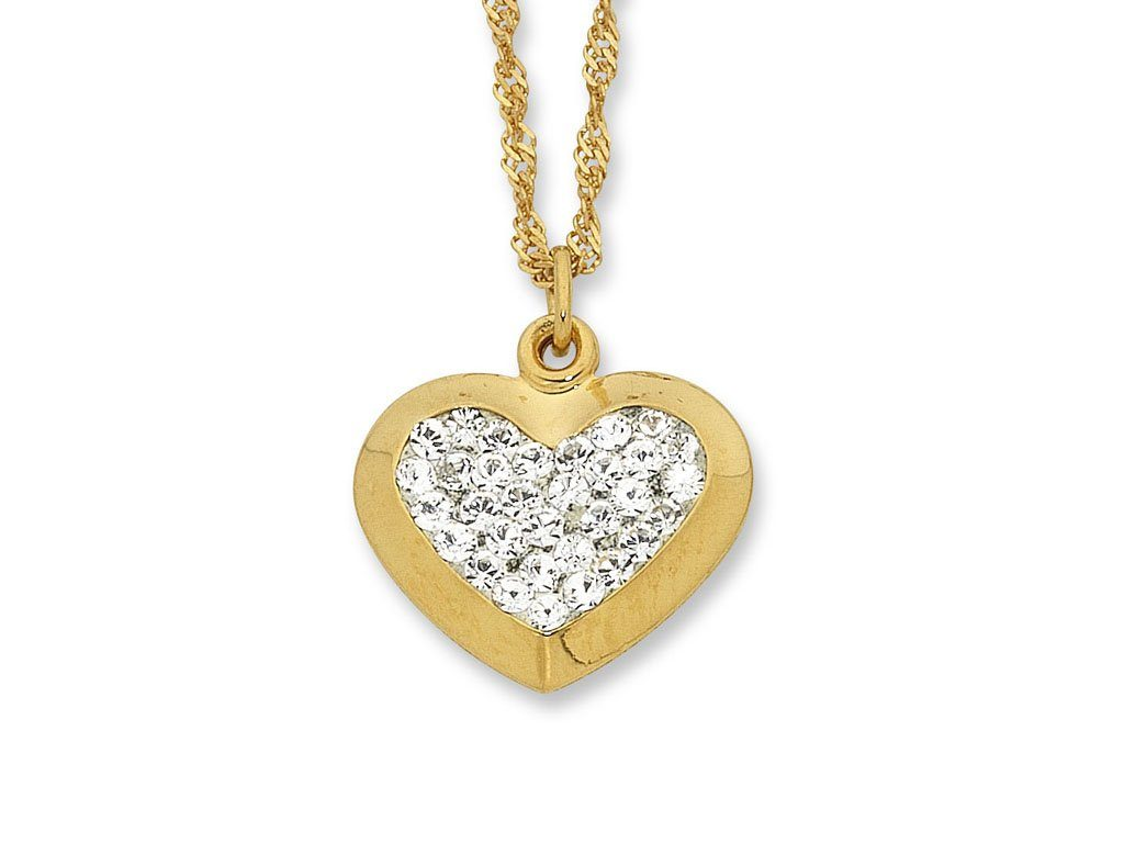 9ct Yellow Gold Silver Infused Crystal Heart Necklace