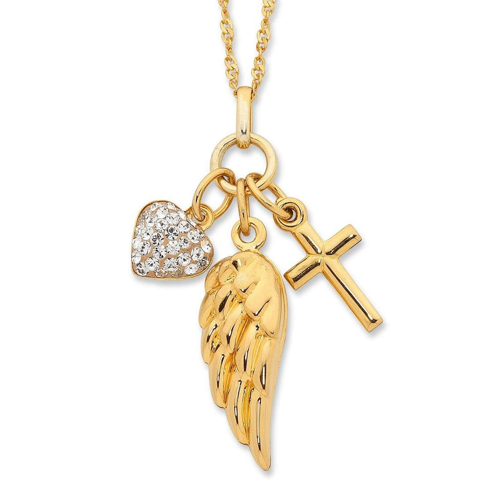 9ct Yellow Gold Silver Infused Heart + Cross + Wing Necklace