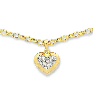 9ct Yellow Gold Silver Infused Heart Necklace
