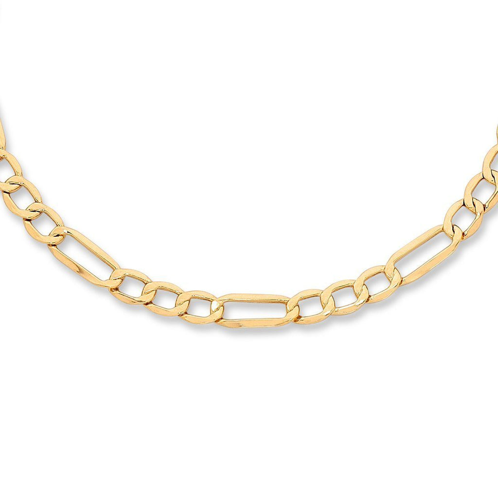 9ct Yellow Gold Silver Infused Figaro Necklace 50cm Necklaces Bevilles
