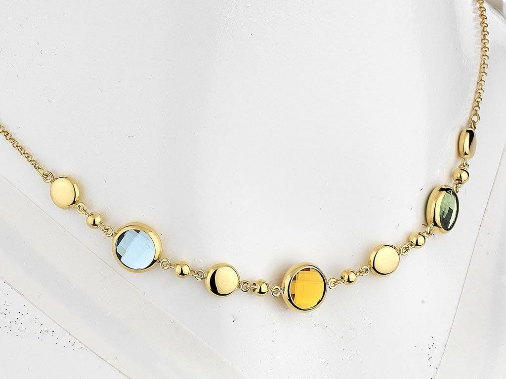 9ct Yellow Gold Silver Filled Multi Coloured Necklace Jewellery Bevilles