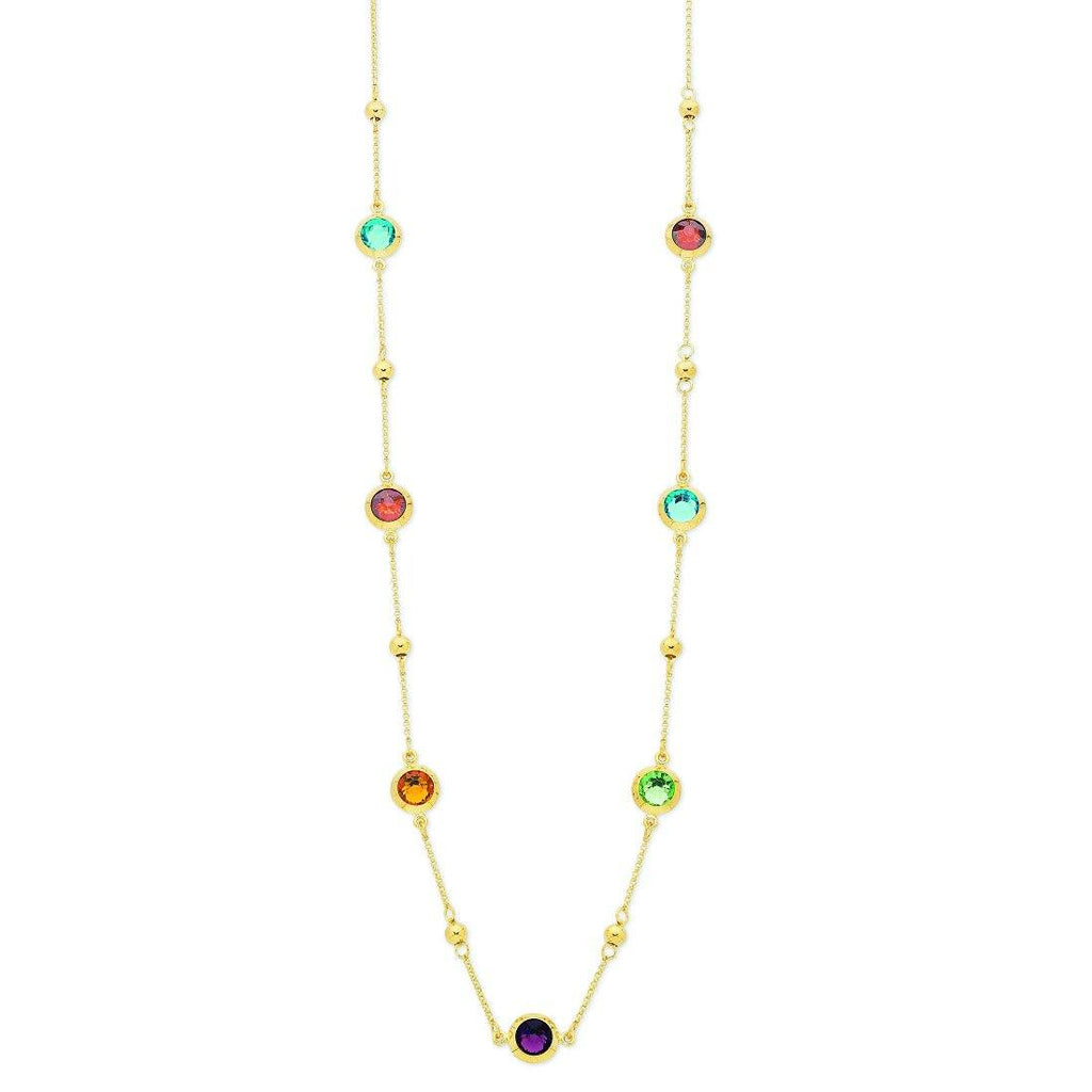 9ct Yellow Gold Silver Infused Multi Coloured Crystal Necklace 75cm Necklaces Bevilles