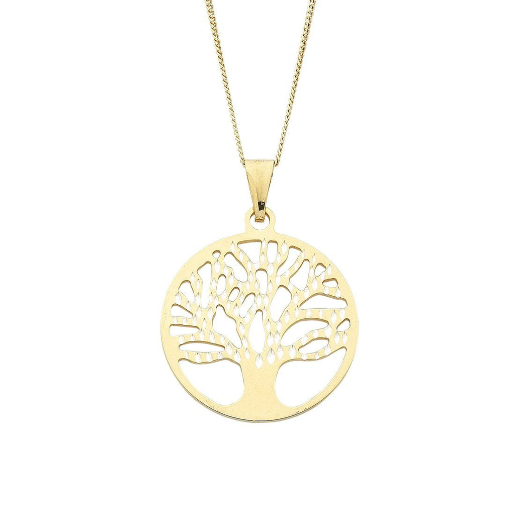 9ct Yellow Gold Silver Infused 45cm Tree Of Life Pendant