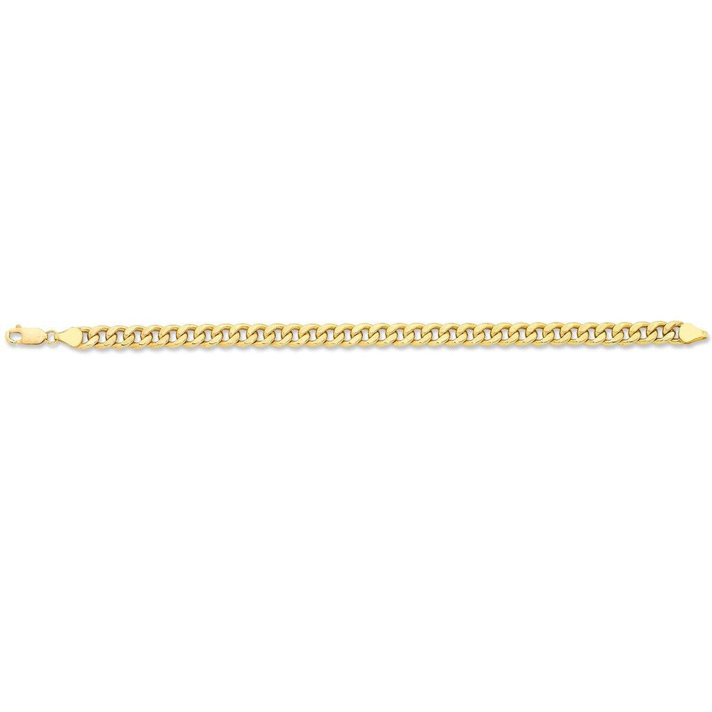 9ct Yellow Gold Silver Infused Curb Necklace - 50cm