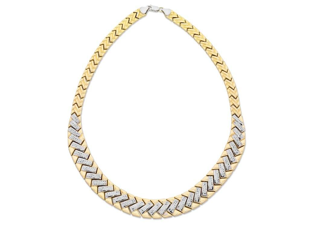 9ct 2 Tone Gold Silver Infused Fancy Necklace