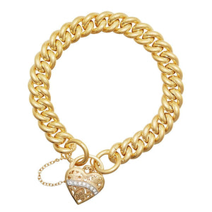 Diamond Set Padlock Bracelet in 9ct Yellow Gold Silver Infused