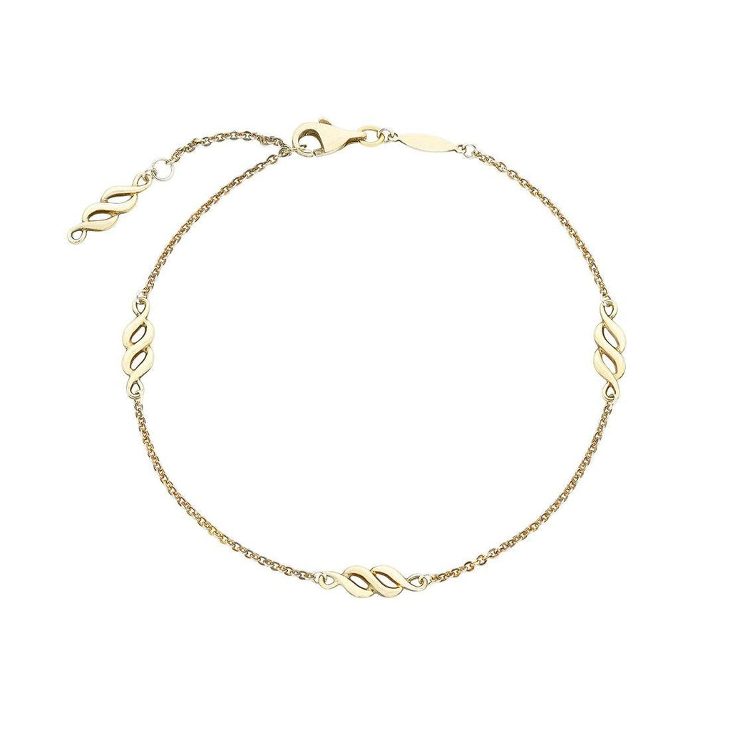 9ct Yellow Gold Silver Infused Cable Link 25cm Anklet