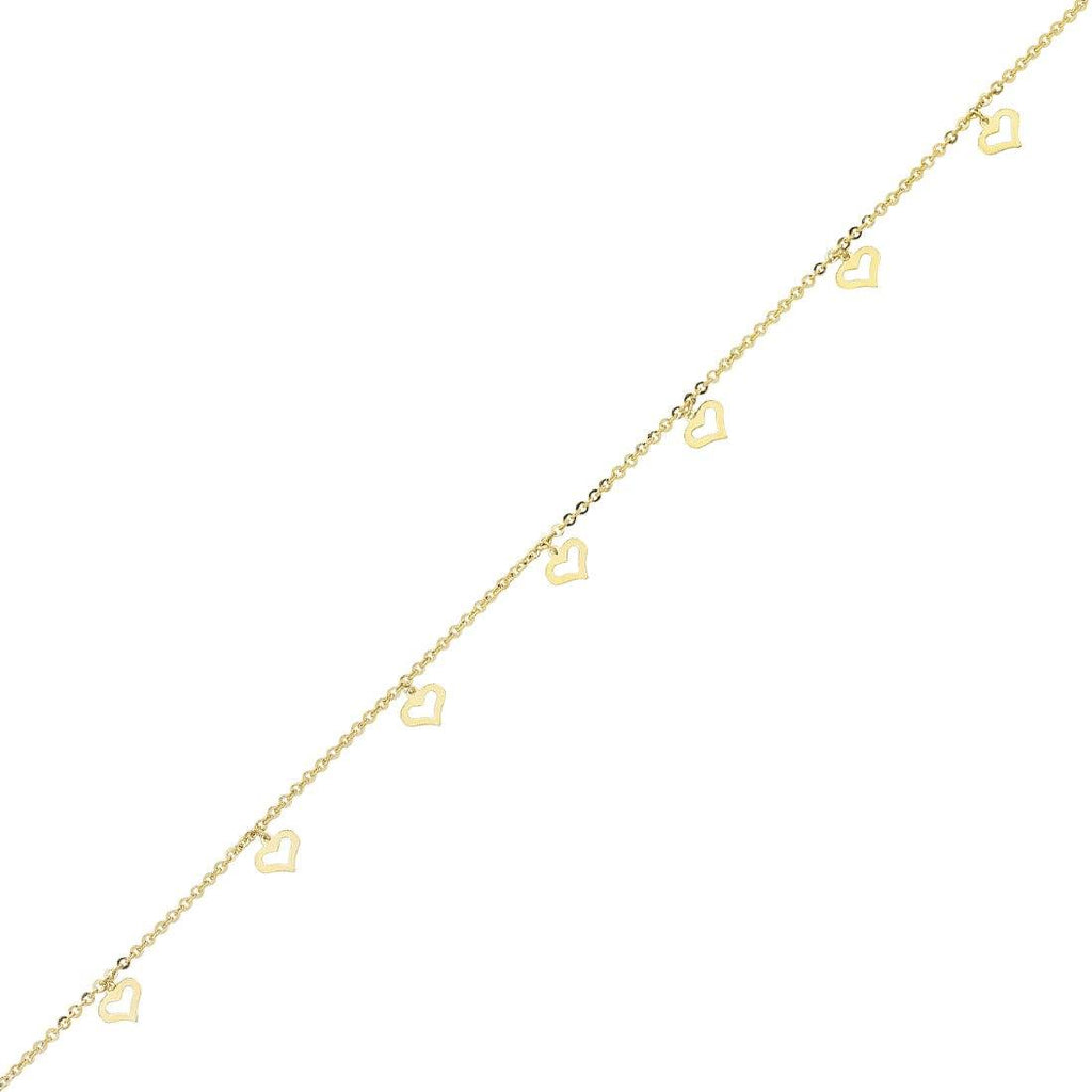 9ct Yellow Gold Silver Infused Floating Open Hearts 25cm Anklet