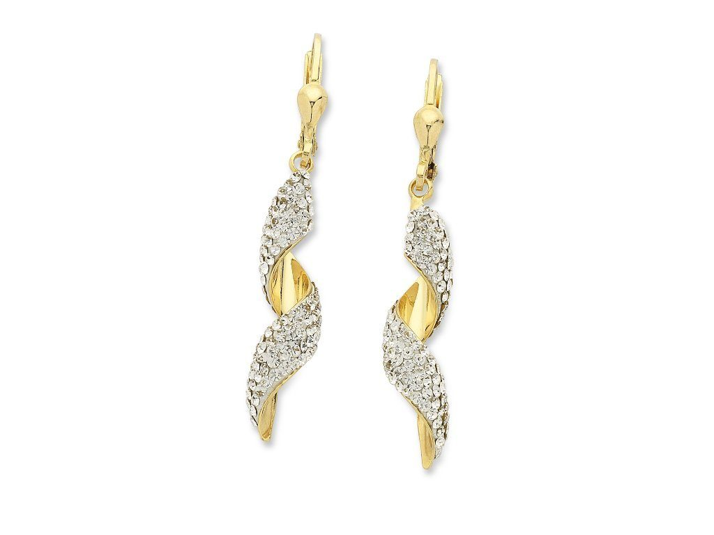 9ct Yellow Gold Silver Infused Swirl Earrings Earrings Bevilles