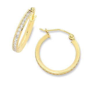9ct Yellow Gold Silver Infused Cubic Zirconia Hoop Earrings 18mm