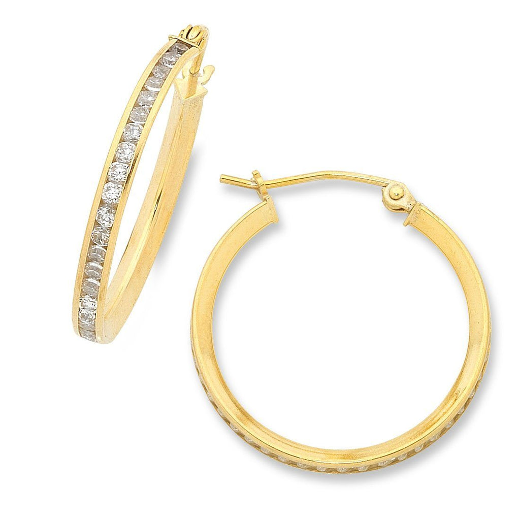 9ct Yellow Gold Silver Infused Cubic Zirconia Hoop Earrings 23mm