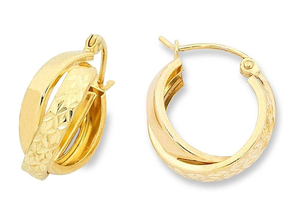 9ct Yellow Gold Silver Infused Earrings