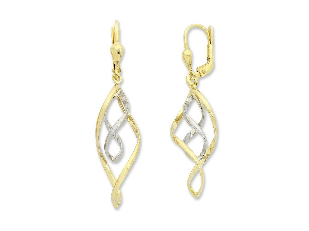 9ct Two Tone Silver Infused Double Infinity Drop Earrings