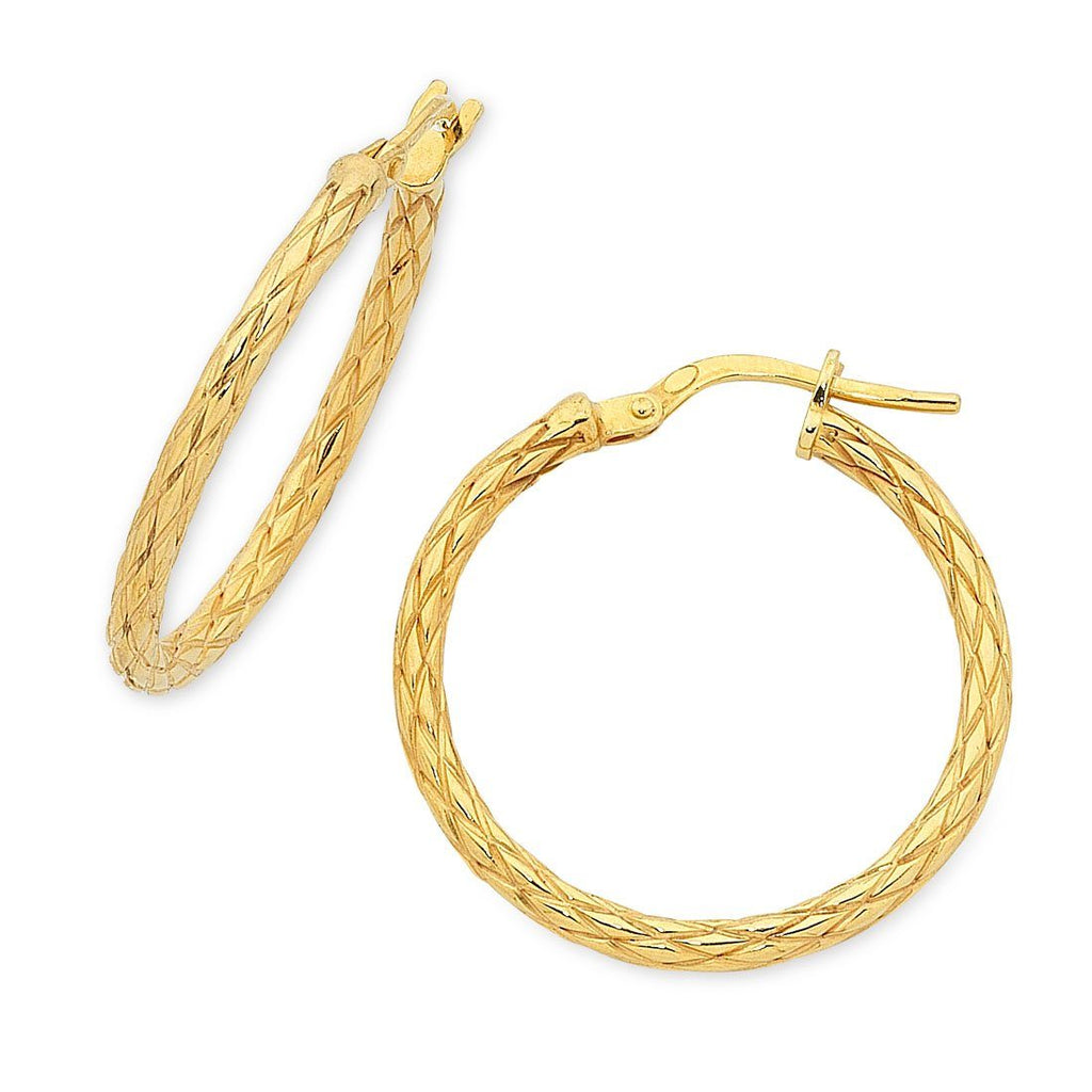 9ct Yellow Gold Silver Infused Patterned Hoop Earrings 20mm