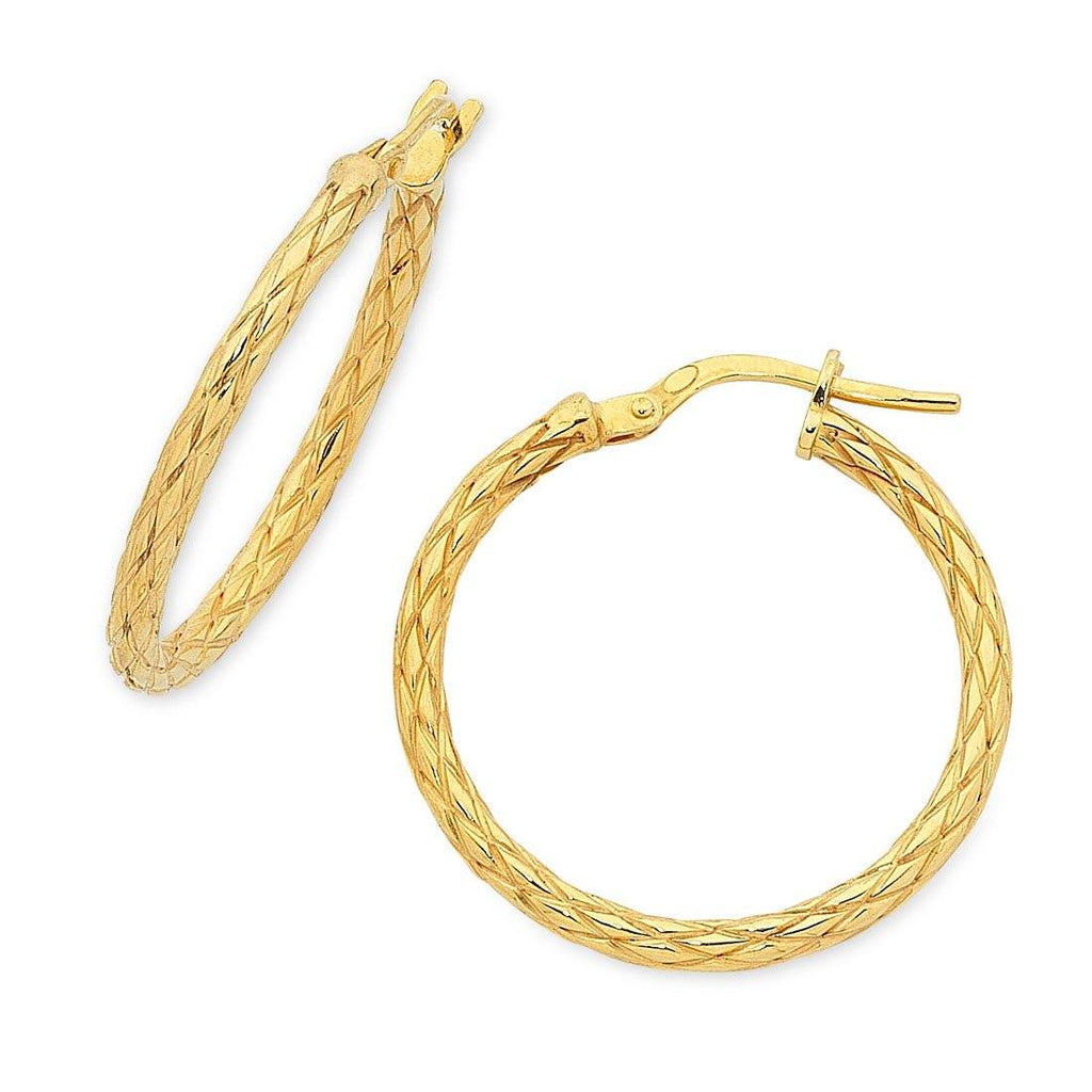 9ct Yellow Gold Silver Infused Patterned Hoop Earrings 25mm Earrings Bevilles