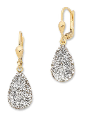 9ct Yellow Gold Silver Infused Crystal Earrings