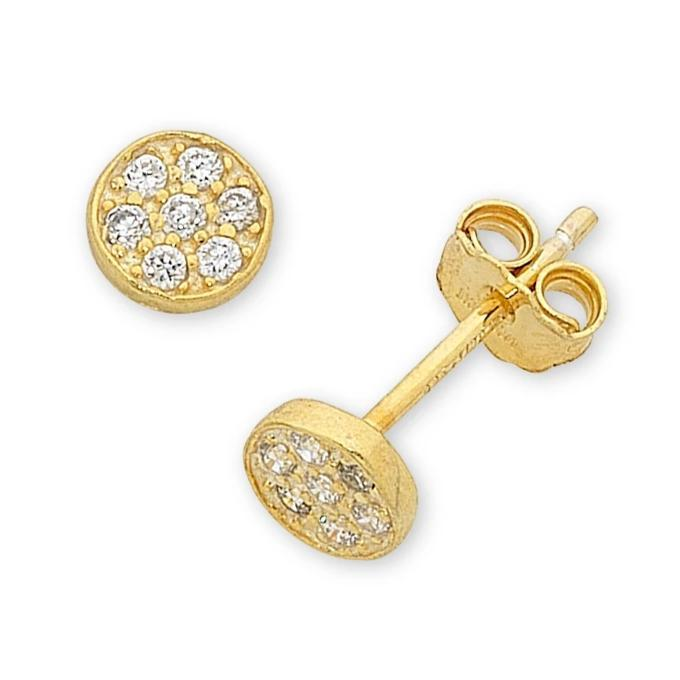 9ct Yellow Gold Silver Infused Pave Earrings Earrings Bevilles