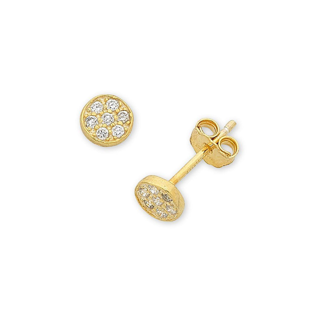 9ct Yellow Gold Silver Infused Pave Earrings 8mm Earrings Bevilles