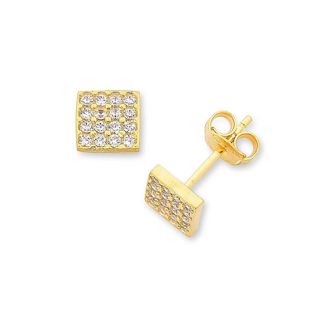 9ct Yellow Gold Silver Infused 7mm Cubic Zirconia Stud Earrings