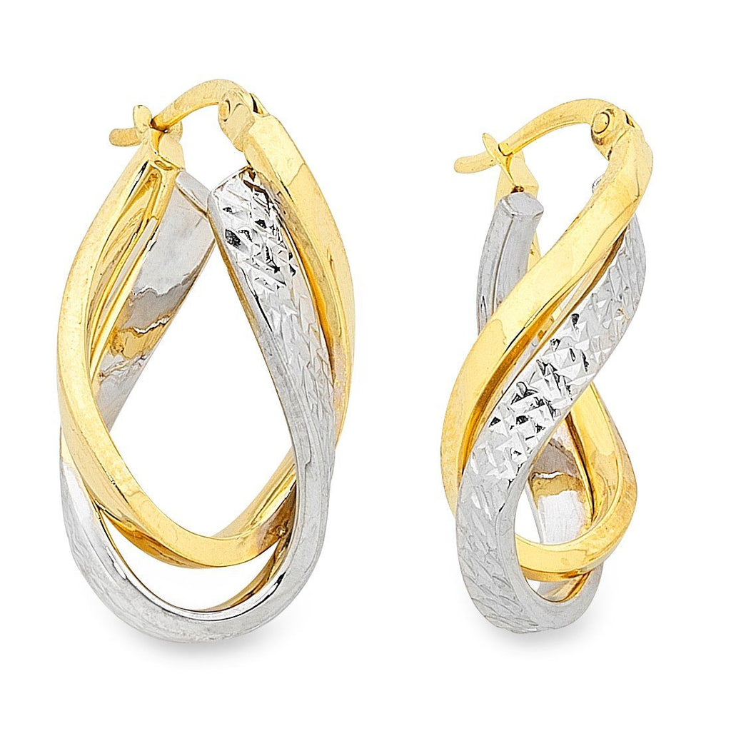 9ct Two Tone Gold Silver Infused Double Twist Earrings