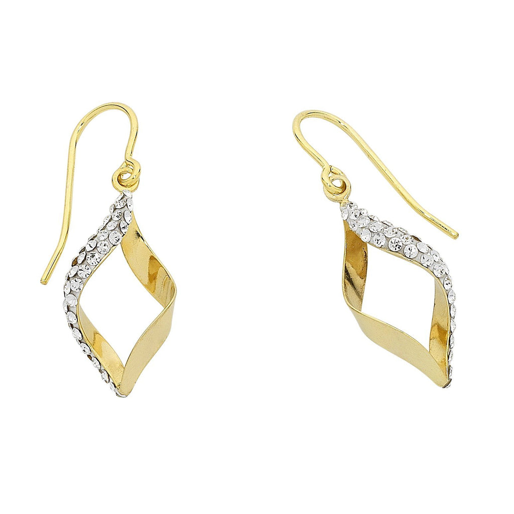 9ct Yellow Gold Silver Infused Crystal Twist Earrings