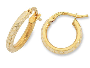 9ct Yellow Gold Silver Infused Hoops- 2mm x10mm