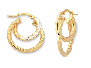 9ct Two Tone Silver Infused Hoop Earrings- 2mm x 15mm