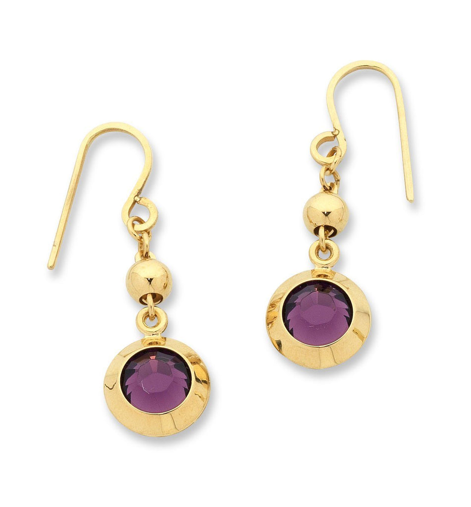 9ct Yellow Gold Silver Infused Purple Crystal Earrings