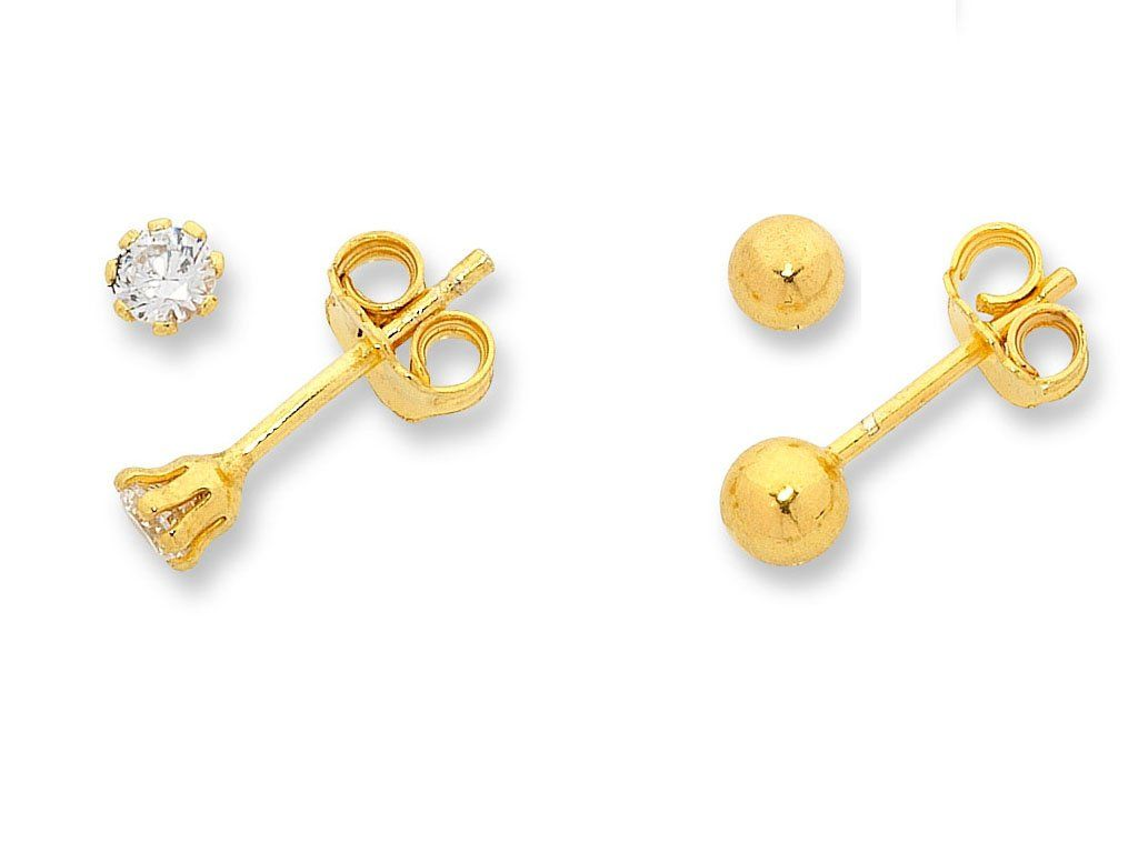 9ct Yellow Gold Silver Infused Stud Set Earrings Bevilles