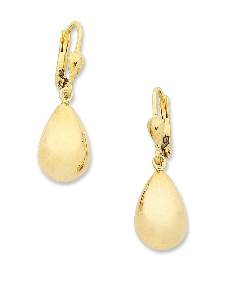 9ct Yellow Gold Silver Infused Drop Earrings