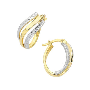 9ct Yellow Gold Silver Infused Oval Crossover Earrings
